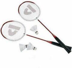 Donnay Rode badmintonrackets met shuttels