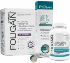 Foligain Anti-Haaruitval Lotion, Haargroei Supplement, Dermaroller Set Vrouw
