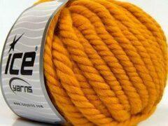 Ice yarns Wol breien met breinaalden maat 10 – 12 mm. – dikke goud kleurige breiwol kopen pakket van 3 bollen garen 100 gram per bol 100% wol – breigaren van een fijne kwaliteit