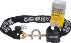 Stahlex Ø10mm / 90cm zeer sterk en massief 2,2kg kettingslot met hangslot scooterslot motorslot gehard staal zwart