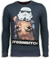 Grijze Local Fanatic Stormbitch - Rhinestone Sweater - Blauw Sweaters / Crewnecks Heren Sweater Maat XL