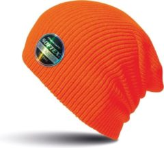 Result Warme gebreide Beanie wintermuts in het fel oranje voor volwassenen - Damesmutsen / herenmutsen - 100% polyacryl