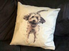 Oranje Wellness-House   Kussenhoes Dog 45*45 cm   Linnen kussenhoes met honden opdruk zonder kussen   woondecoratie  