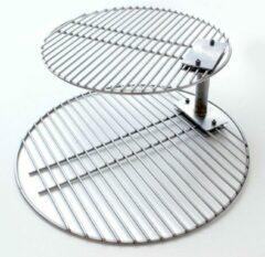 Smokeware Dubbel Rooster - RVS - Grill Verhoger - Grillrooster - Barbecuerooster - Geschikt voor Bigg groen Egg Large