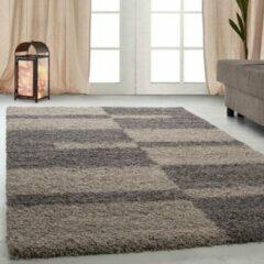 Gala Hoogpolig Vloerkleed - Cali - Rechthoek - Taupe - 60 x 110 cm - Vintage, Patchwork, Scandinavisch & meer stijlen vind je op WoonQ.nl