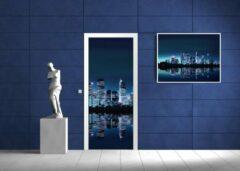 Blauwe Fotobehangart Deursticker Muursticker New York   Blauw   91x211cm