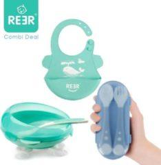 Reer Baby Servies Starterspakket| Baby Bordje / Kom Groen| Baby Bestekset Blauw | Baby slabbetje Groen | All-in-one Pakket