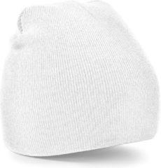 Beechfield Warme gebreide Beanie wintermuts in het wit voor volwassenen - Damesmutsen / herenmutsen - 100% polyacryl - Basic line