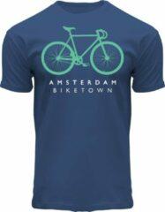 Blauwe Fox Originals Amsterdam Biketown Turquoise Unisex T-shirt Maat XL