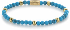 Rebel & Rose Rebel and Rose RR-40059-G Rekarmband Beads Turquoise Delight turquoise-en goudkleurig 4 mm XS 15 cm