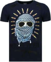 Zwarte Local Fanatic Freedom Fighter - Rhinestone T-shirt - Blauw Freedom Fighter - Rhinestone T-shirt - Blauw Heren T-shirt Maat XL