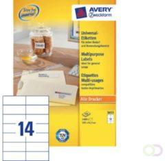 Etiket Avery Zweckform 3653 105x42.3Mm wit 1400stuks