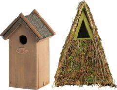 Bellatio Design Voordeelset van 2x stuks houten vogelhuisjes/nestkastjes 24 x 17 cm/22 x 16 cm - Met puntdak in groen en houtkleur