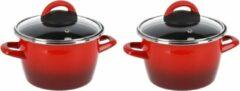 Gerim Set van 2x stuks rvs rode kookpan/pannen Cuenca met glazen deksel 16 cm 3 liter
