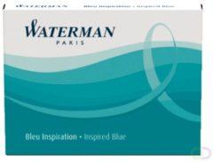 Blauwe Waterman korte inktpatronen Inspired Blue 1x6stuks