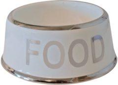 Gebr. de Boon Hondeneetbak wit/zilver Food 18 cm