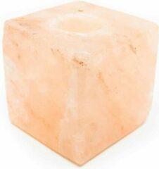Oranje Spiru Theelichthouder van Himalaya Zoutsteen Kubus