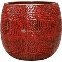 Donkerrode Ter Steege Pot Marly Deep Red ronde rode bloempot voor binnen en buiten 41x38 cm