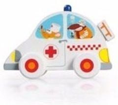 Scratch Europe Houten speelgoed witte ambulance 10 cm