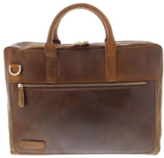 Bruine Plevier Business/laptoptas vintage rundleer 2-vaks 15.6 Dark Brown 38