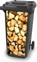 Bruine Klikosticker-houtblokken-container sticker-afvalbak stickers-kliko-container, brandhout, houtstapel, CoverArt