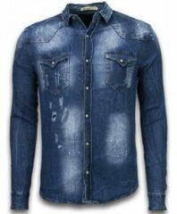 Blauwe Overhemd Lange Mouw Enos Denim Shirt - SpijkerBlouse Slim Fit Long Sleeve - Vintage Look