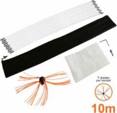 Oranje MonsterShop Maxblast Nylon elektrische schoorsteen borstel - 10 meter - schoorsteenveger - roterende booraandrijving - GRATIS stofzeil en opbergzak