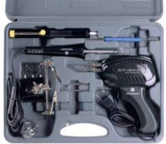 TOOLCRAFT SK 3000 Soldeerboutset 230 V 100 W Vernikkelde soldeerpunt Incl. soldeerpistool, Incl. uitrusting, Incl. derde hand, Incl. desoldeerzuigpomp, Incl.