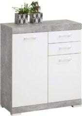 Grijze FMD Commode Cristal 2 deuren en 2 laden 80x90x35 - beton/hoogglans wit