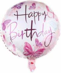 Roze Akyol Happy birthday ballon - kinderen - ballon - helium - 45 centimeter - folieballonnen