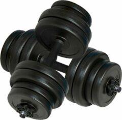 Merkloos / Sans marque Halterset gewichten sport - Totaal 30 kg - 2 stuks - Zwart