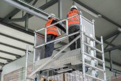 Grijze Lockhard Rolsteiger Hoogwerker de Alulift werkhoogte 600 cm.- De Solarlift bij uitstek! 250 kg belastbaar.