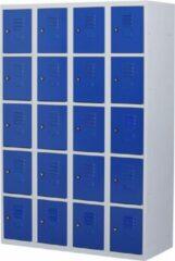 Povag Lockerkast metaal met slot - 20 deurs 4 delig - Grijs/blauw - 180x120x50 cm - LKP-1020