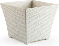 Forte Plastics 2x Ivoor witte plantenbakken/bloempotten 37 cm - Woon/tuinaccessoires/decoratie - Bloempotten/plantenpotten voor binnen/buiten