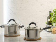 Zilveren Sola Venice 4-Delige pannenset - Met glazen deksel - Zwarte Koudgrepen en Sandwichbodem