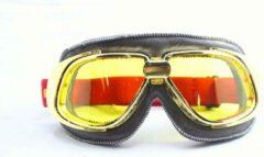 Ediors retro goud, bruin leren motorbril | Geel glas