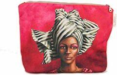 Rode Make-up tas - Toilettas - African Woman Black & White - WhimsicalCollection - Afrikaanse vrouw - Mooi, handig en bijzonder. Origineel Afrikaanse passend bij de African Women collectie