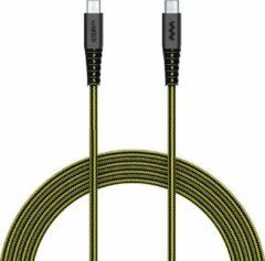 SoSkild Oplaadkabel USB-C naar USB-C - 1,5m - Voor Verschillende Android Toestellen - Levensduur van 22 jaar - Zwart / Geel