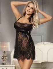 Zwart sexy kanten nachtjurkje   Maat 42/44   Stijlvol Sexy Lingerie