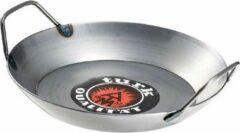 Grijze Albert Turk GmbH & Co. KG Albert Turk, ijzeren wok, braad-, grill-, serveerpan, multifunctionele pan, inductie, zware uitvoering met 2 handgrepen- bovenrand Ø28cm, bodem Ø20.5cm, top-koks zweren bij de pannen van Turk.