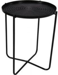 Lesliliving Ronde bijzettafel/plantenstandaard zwart 50 cm - plantenhouder/plantentafel/oppottafel