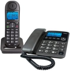 Profoon PDX-6350 Draadloze Dect Telefoon en Big Button vaste telefoon - 2 toestellen - Zwart