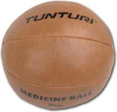 Tunturi Medicine Ball - Medicijnbal - Crossfit ball - 2 kg - Bruin kunstleder