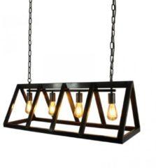 Zwarte LABEL51 - Hanglamp Roof Zwart Staal 4-lamps 95x35x38 cm