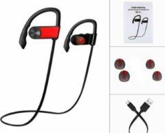 SBVR Draadloze bluetooth in ear sport oortjes headset - zweetbestendig - Rood