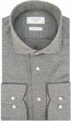 Grijze Profuomo Sky blue slim fit knitted overhemd met lange mouwen