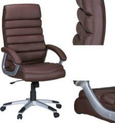 AMSTYLE Bürostuhl VALENCIA Kunstleder Braun ergonomisch mit Kopfstütze Design Chefsessel Schreibtischstuhl mit Wippfunktion Drehstuhl hohe Rücken-Le
