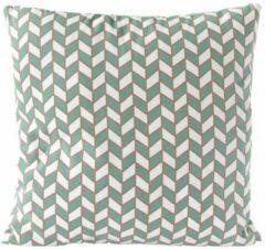 Nielsen Design Sierkussen decoratie kussen Chess 45 x 45 cm groen wit