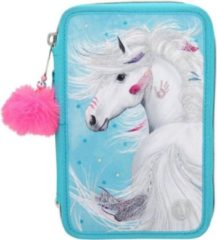 Blauwe Miss Melody etui Paard 3-vaks 20 cm polyester turquoise 44-delig