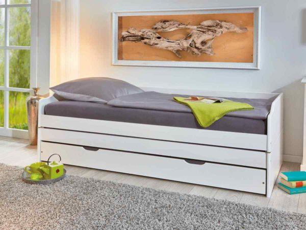 Afbeelding van Witte Interlink Zitbank-slaapbank LOTAR 90x200 in massief dennenhout wit gelakt
